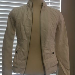 Guess Off White Faux Leather Jacket Sz M